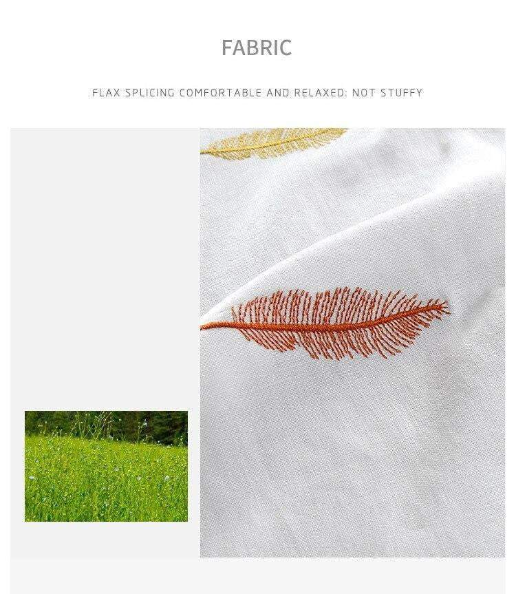 Linen T-shirt Feathers - RinmakStyle
