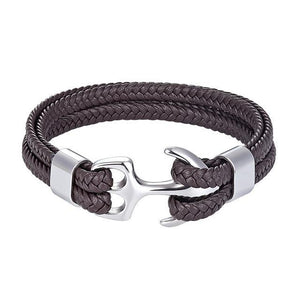 Men's Leather Anchor Bracelet (3 colors) - RinmakStyle