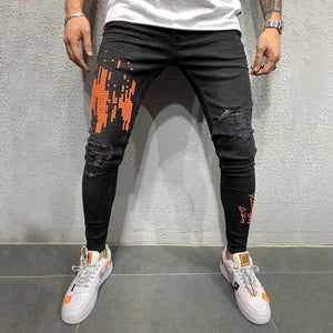 Printed Ripped Jeans
