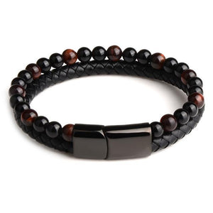 Men's Leather Beaded Bracelet (3 colors) - RinmakStyle