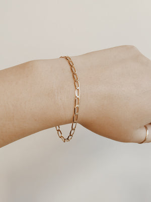 ERO - 14KT SOLID GOLD FLAT LARGE CHAIN BRACELET