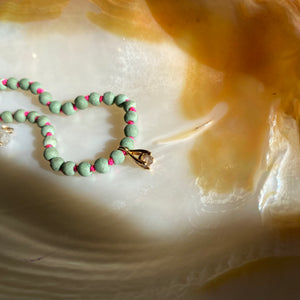 GODDESS BRACELET - [ ANTHEIA ] - MOSS GREEN MAGNESITE & SMOKY QUARTZ