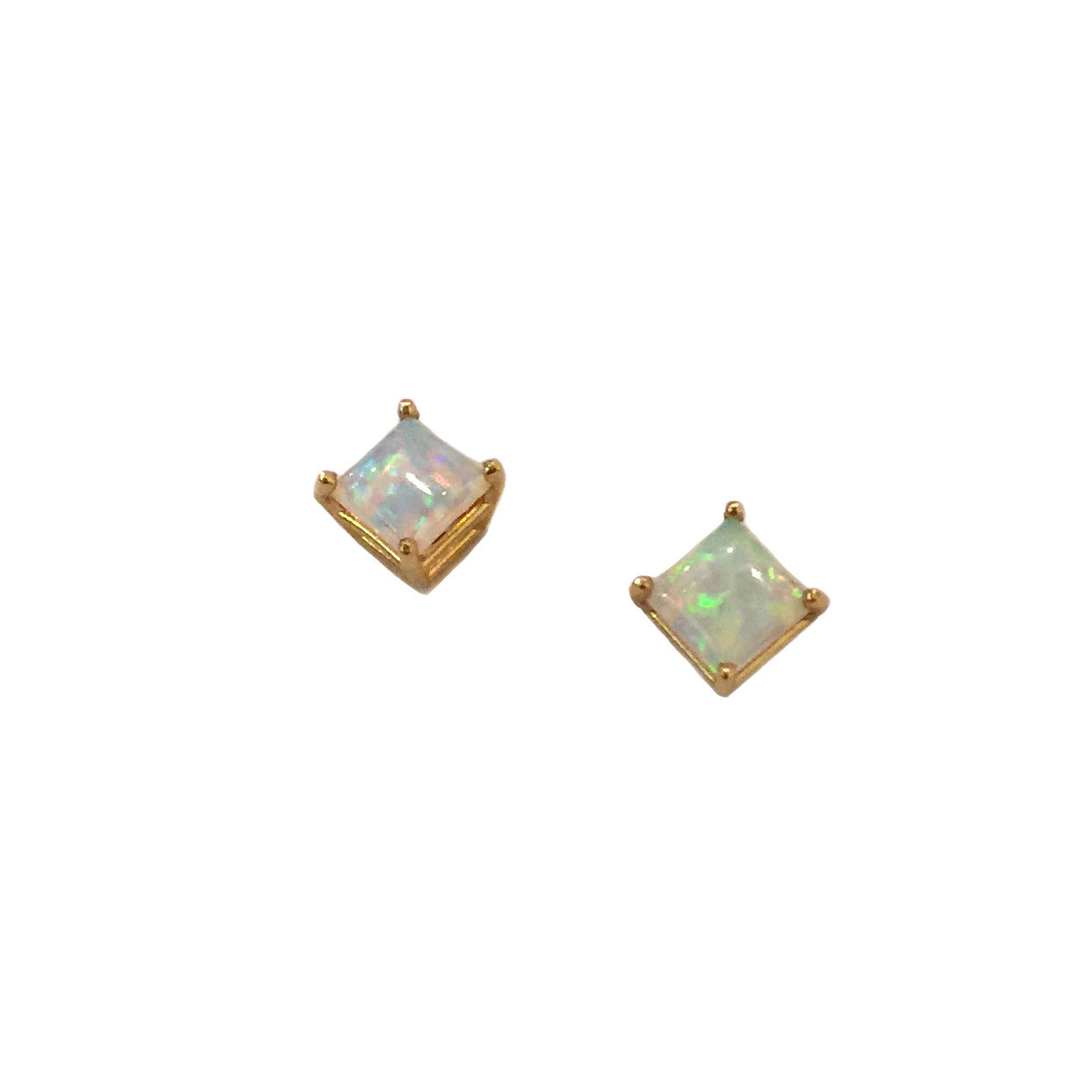 14KT GOLD OPAL SQUARE STUDS