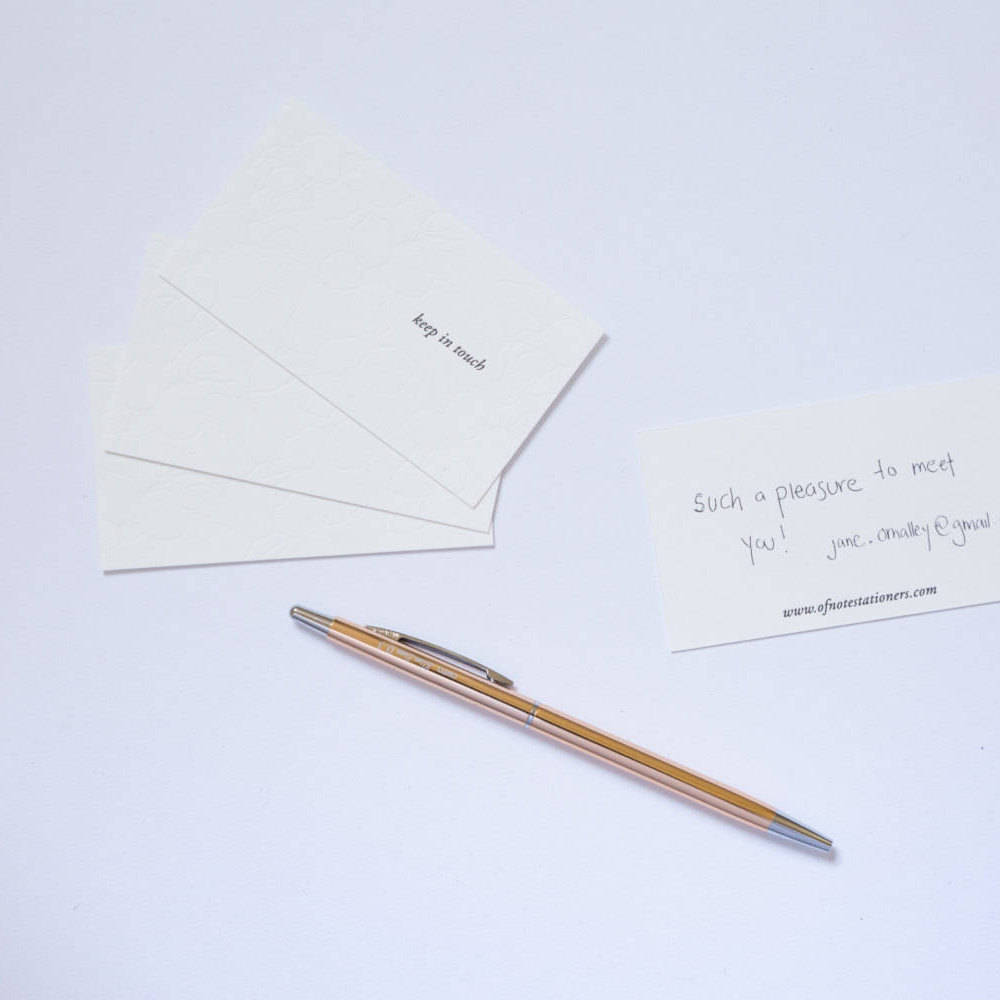 LITTLE NOTES SET OF 10 MINI LETTERPRESS CARDS - KEEP IN TOUCH