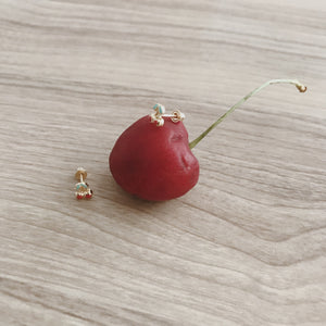 CHERRY BOMB 14KT GOLD ENAMEL SCREW BACK STUDS