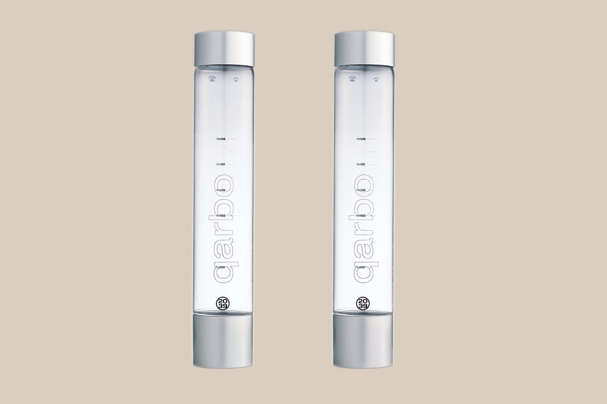 qarbo - Two x Spare 1 litre BPA-Free Bottles - Silver