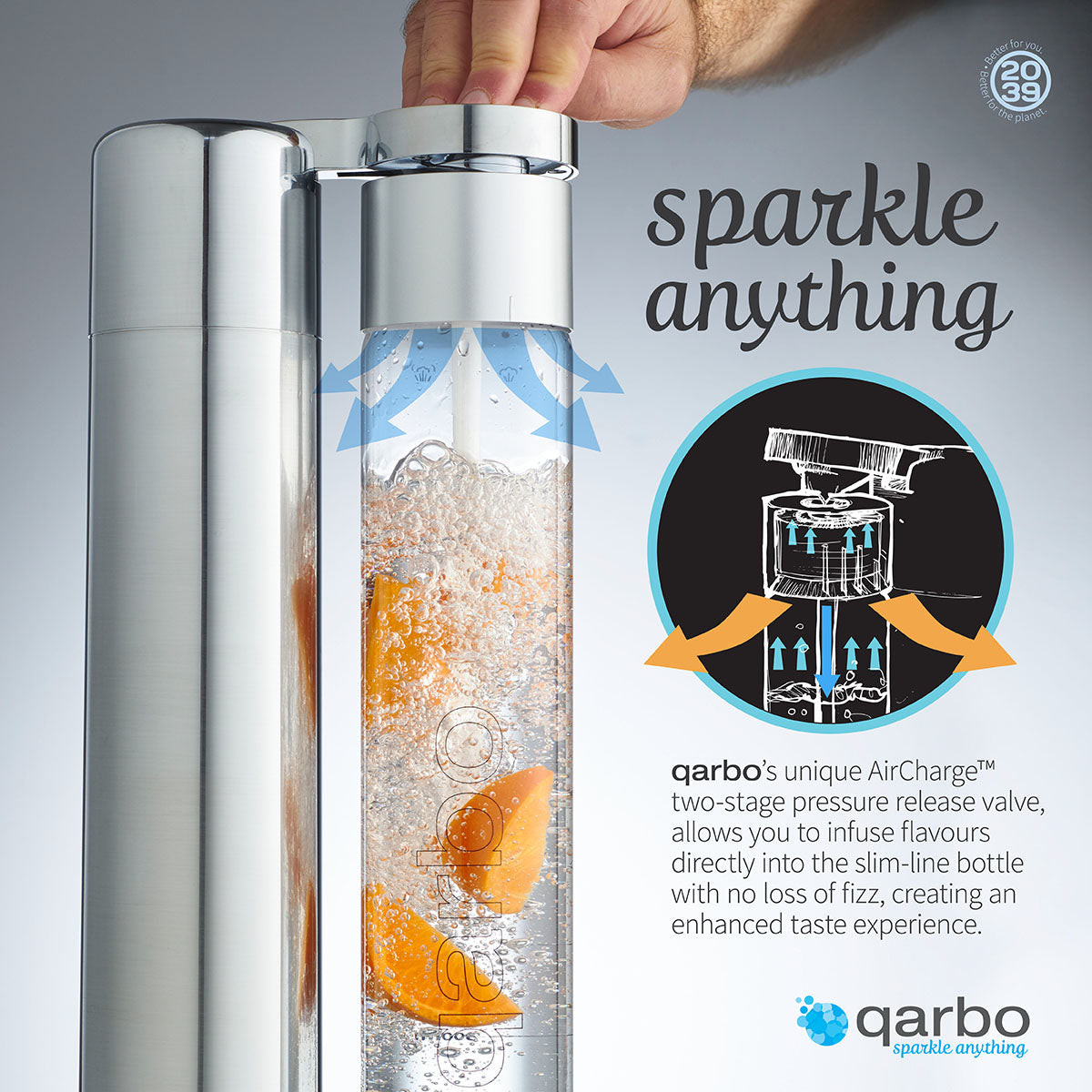 qarbo Sparkling Water Maker and Fruit Infuser (AU/NZ) - Chrome - with Two x 1L BPA-Free Bottles