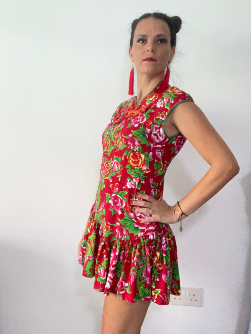 Woman Red Skater Cheongsam