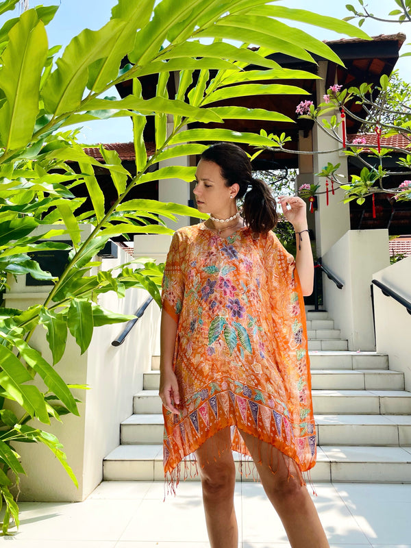 Vera Hand printed Batik Orange Caftan (Unique Size)