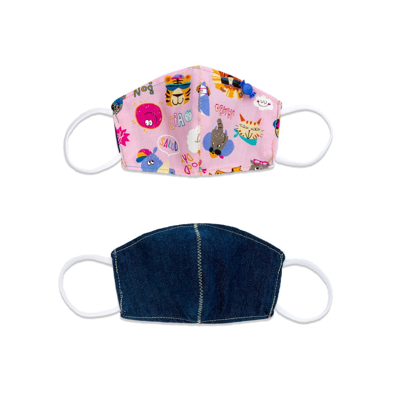 Young Girl (7-12 yo) Pink Cartoons Reversible Denim Mask