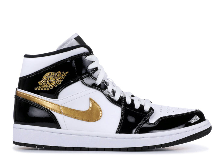 Authentic Jordan 1 Retro Mid Patent Black Gold - Sneak Foot Co