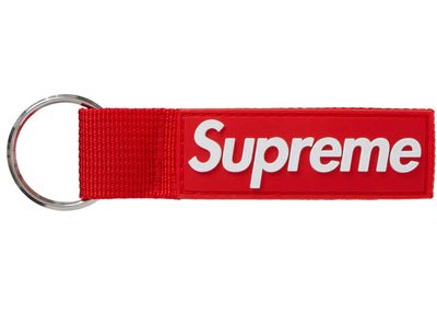 Authentic Supreme Webbing Keychain Red