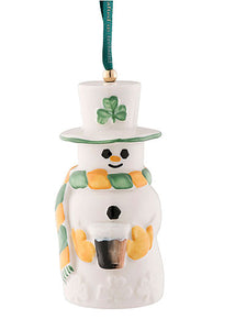 Belleek Pottery Snowman Paddy With Guinness Beer Bell Ornament