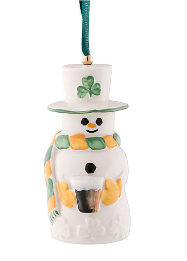 Belleek Pottery 2020 Snowman Paddy With Guinness Beer Bell Ornament