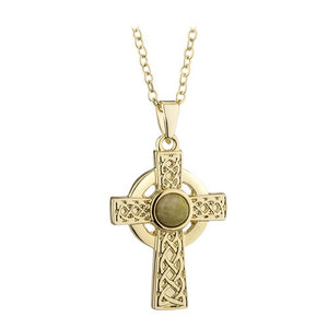 Solvar Gold Plated Celtic Cross Connamara Pendant