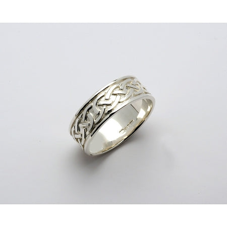 Fado 14ct White Gold Celtic Knot White Band