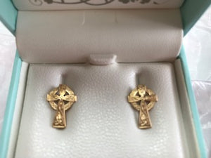 Fado 10ct Gold Celtic Cross Earrings