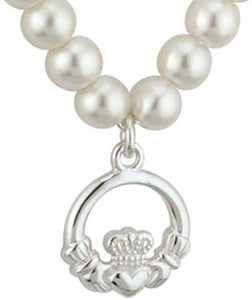 Solvar Sterling Silver Claddagh with Pearls Baby Pendant