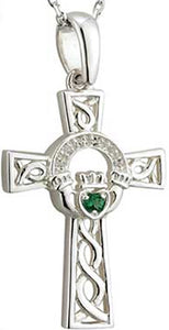 Solvar Silver Celtic Cross Claddagh Emerald Pendant
