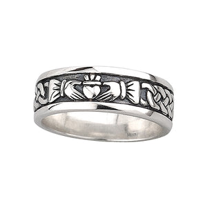 Solvar Sterling Silver Celtic Knot & Claddagh Band