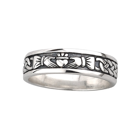 Solvar Ladies Silver Celtic Celtic Knot & Claddagh Band