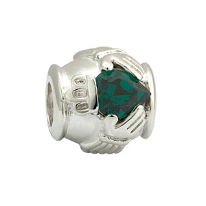 Solvar Claddagh Green Center Bead
