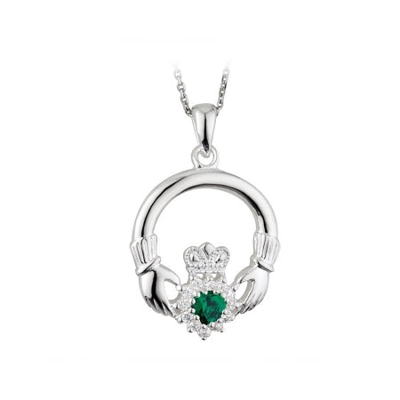 Solvar Sterling Silver Claddagh Emerald Heart Pave Crystal Pendant