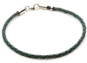 "Tara's Diary 7"" Green Leather Bracelet"