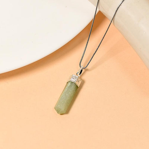Green Aventurine Pencil Pendant Necklace for Confidence