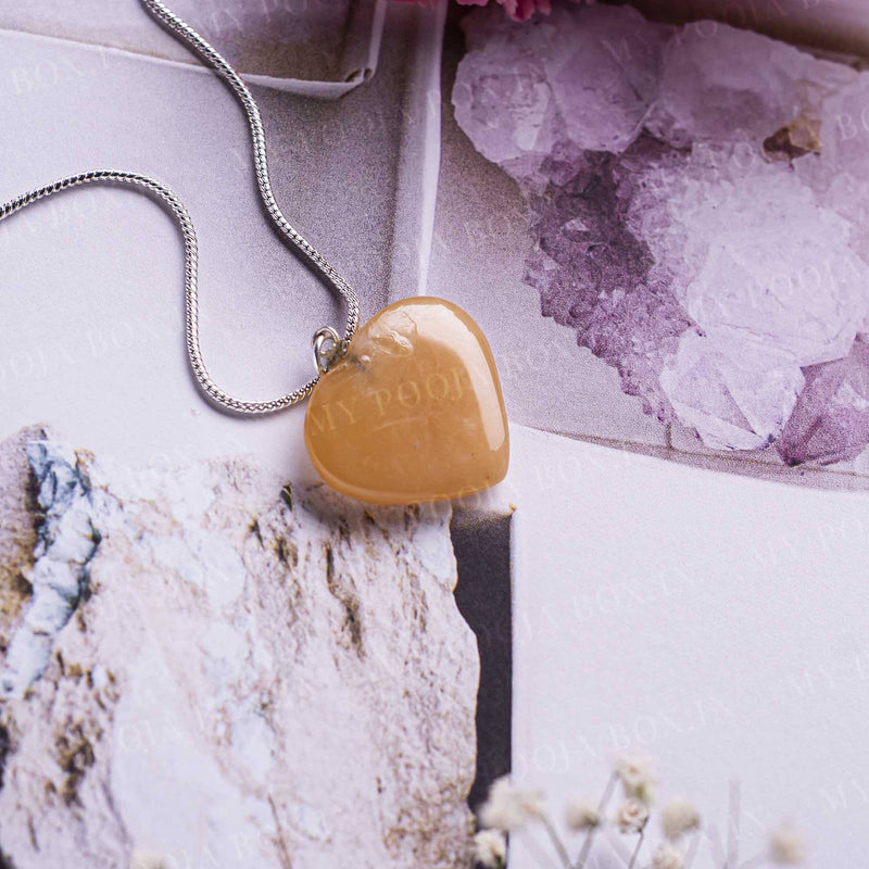 Orange Aventurine Heart Pendant Necklace