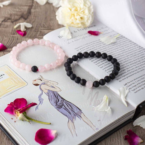 Rose Quartz & Black Onyx Bracelet ( Set of 2 )⎮Couple Bracelet