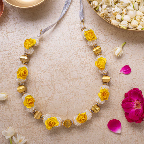 Adjustable Yellow Floral Garland/Mala