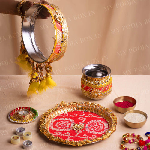 Peach & Yellow Bandhani Karwa Chauth Thali Set
