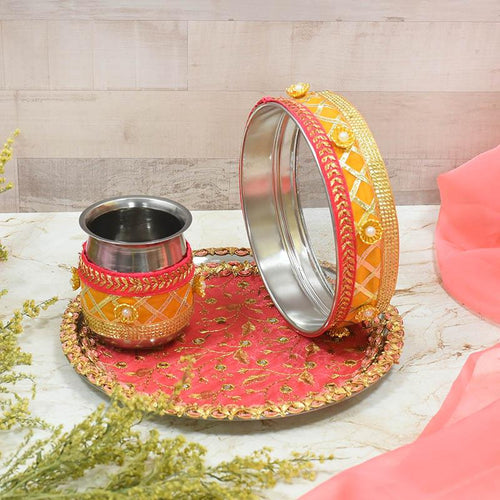 Peach & Yellow Glimmer Karwa Chauth Thali Set