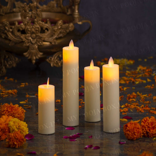 Flickering Flame Pillar Candle (Set of 4)