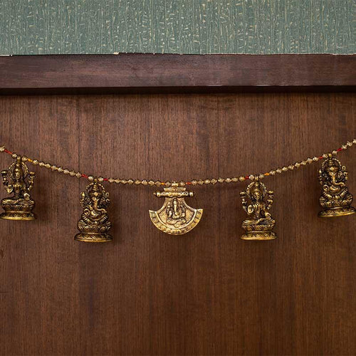 Antique Brass Laxmi Ganesha Bandhanwar