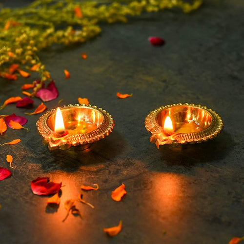 Traditional Golden Brass Diya (Set of 2)