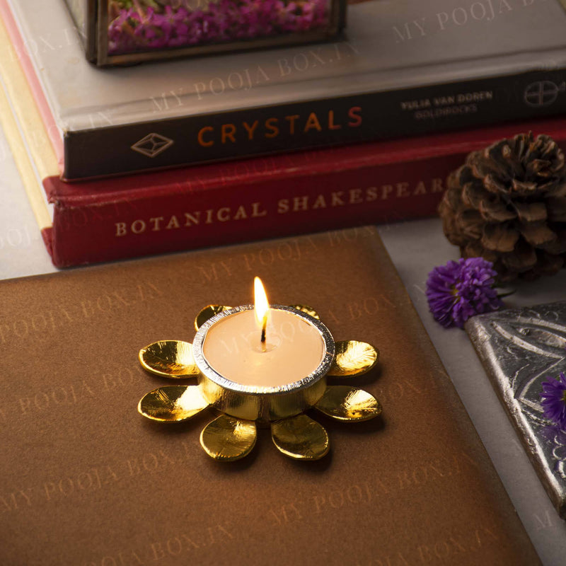 Gold Plated Petal T-Light Holder