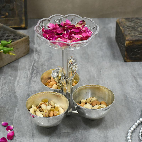 Exquisite Swarovski Silver Plated  Dry Fruit Platter