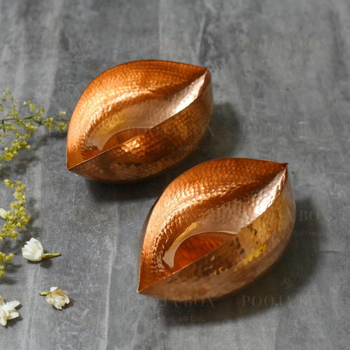 Copper Ebi Pod Tlight Large Set Of 2 Candle Holder