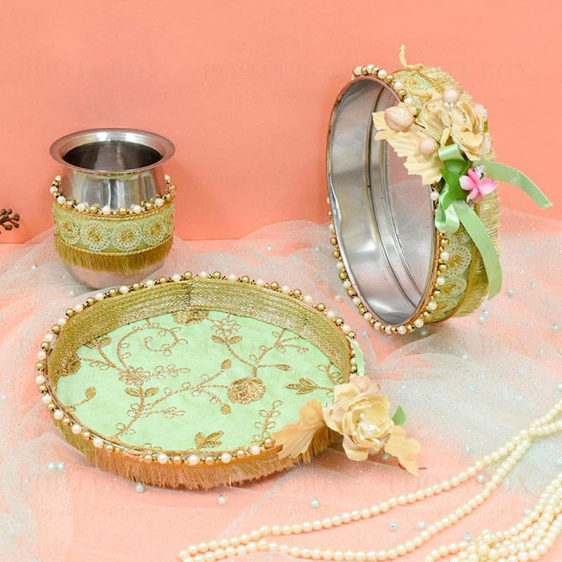 Gorgeous Green Floral Beaded Karwa Chauth Thali Set