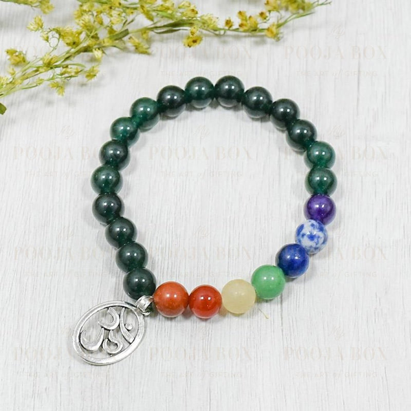 Green Aventurine Bracelet With Om Charm | Luck & Creativity Reiki