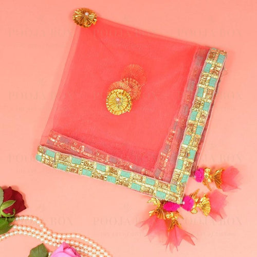 Pretty Peach Thali Cover Karwa Chauth