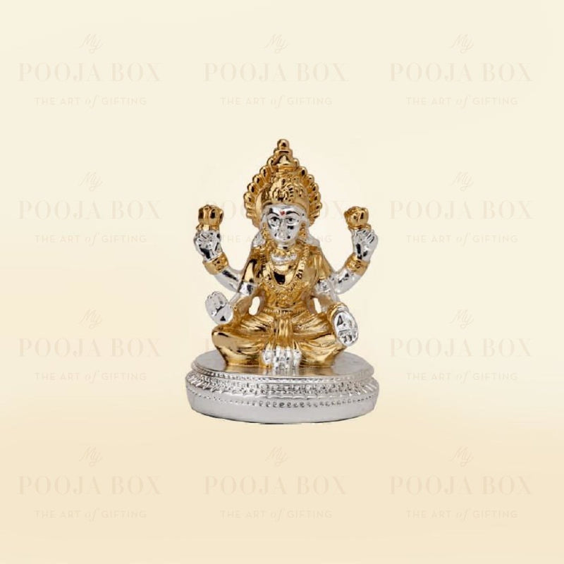 Silver Plated Laxmi With Round Base Idols