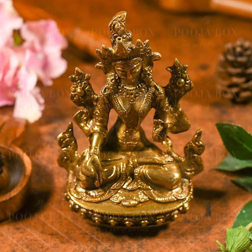Studded Brass Tara Statue Idol
