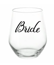 Load image into Gallery viewer, Custom Wedding Stemless Wine Glass