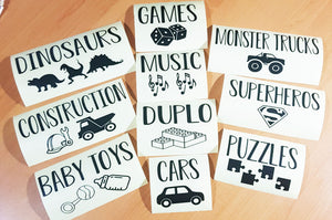 10 Pack of Play Room Decal Labels
