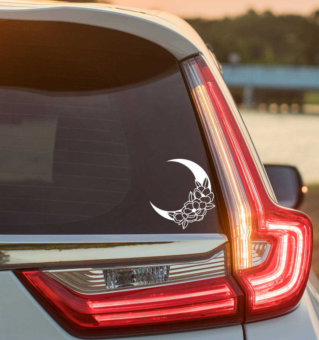Flower Crescent Moon Decal