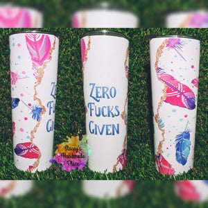 Zero Fucks Given Feathers Insulated Tumbler