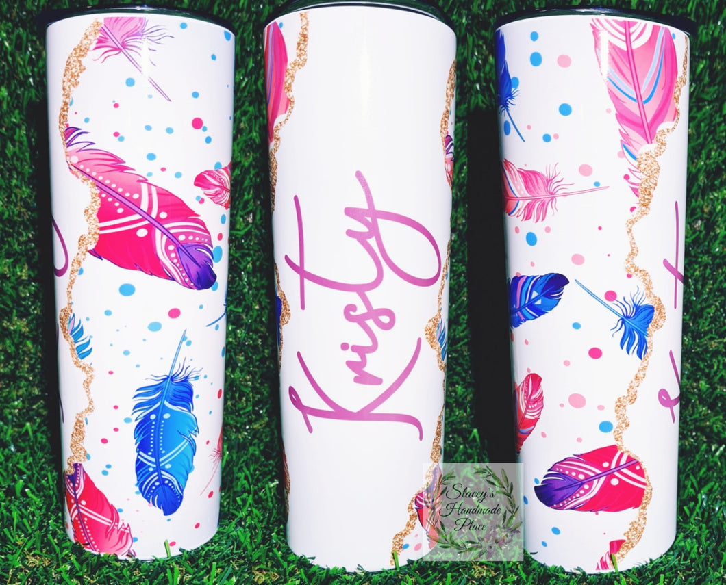 Personalised Feathers Insulated Tumbler